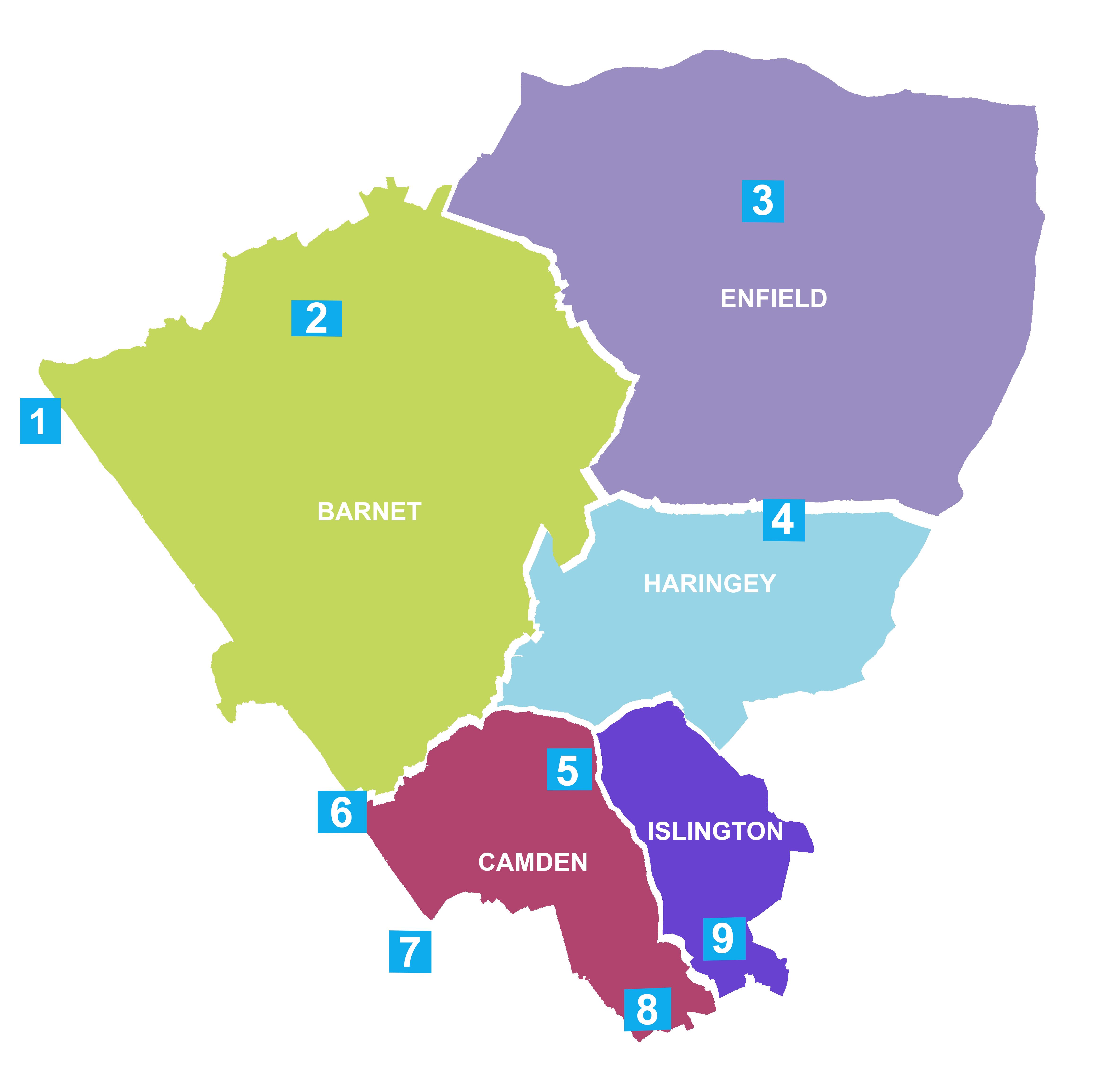 North Central London Cancer Alliance map
