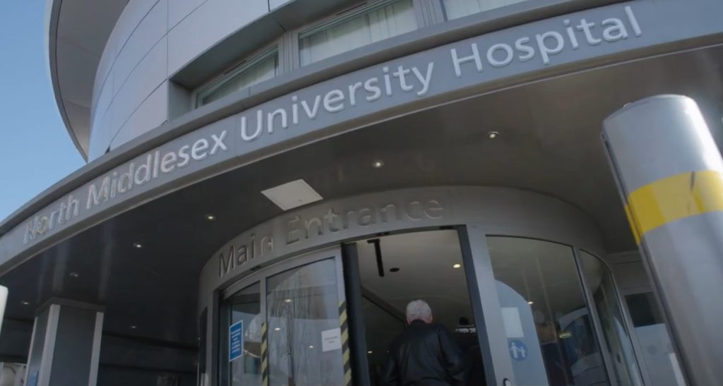 Front entrance of North Middlesex Hospital