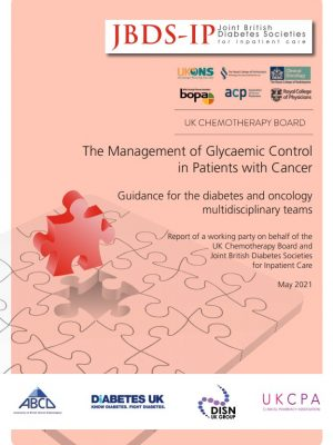 Report cover for guidance on diabetes control and patients with cancer